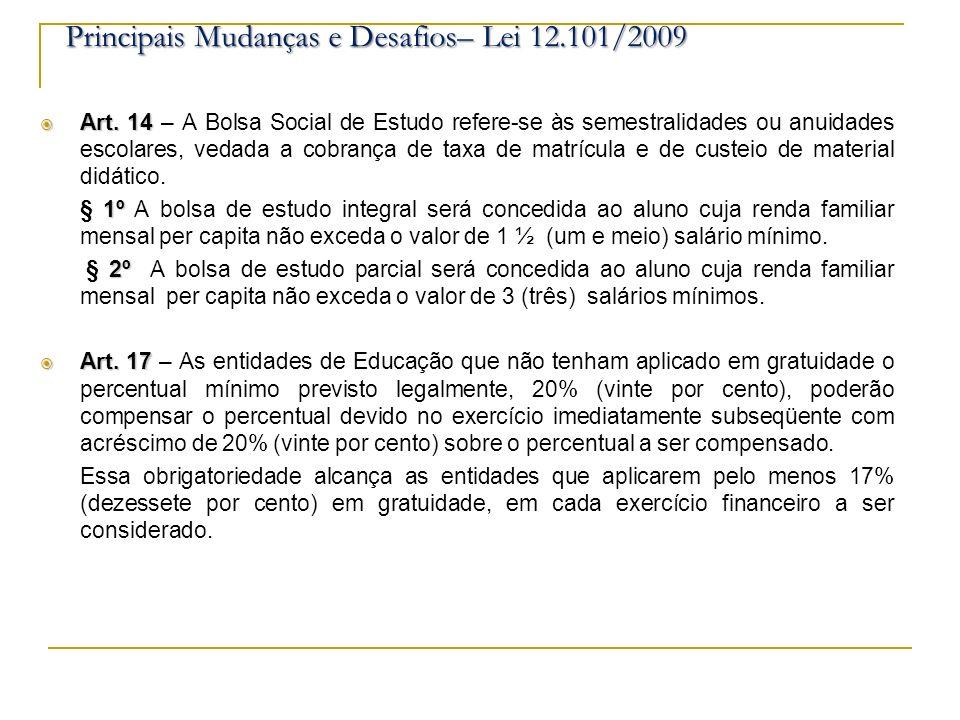 Art. 14 Art. 14 – A Bolsa Social de Estudo refere-se às semestralidades ou anuidades escolares, vedada a cobrança de taxa de matrícula e de custeio de