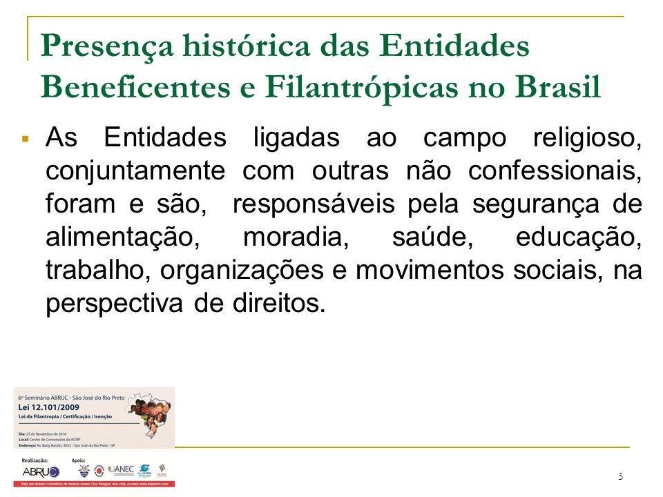 5 Presença histórica das Entidades Beneficentes e Filantrópicas no Brasil As Entidades ligadas ao campo religioso, conjuntamente com outras não confes