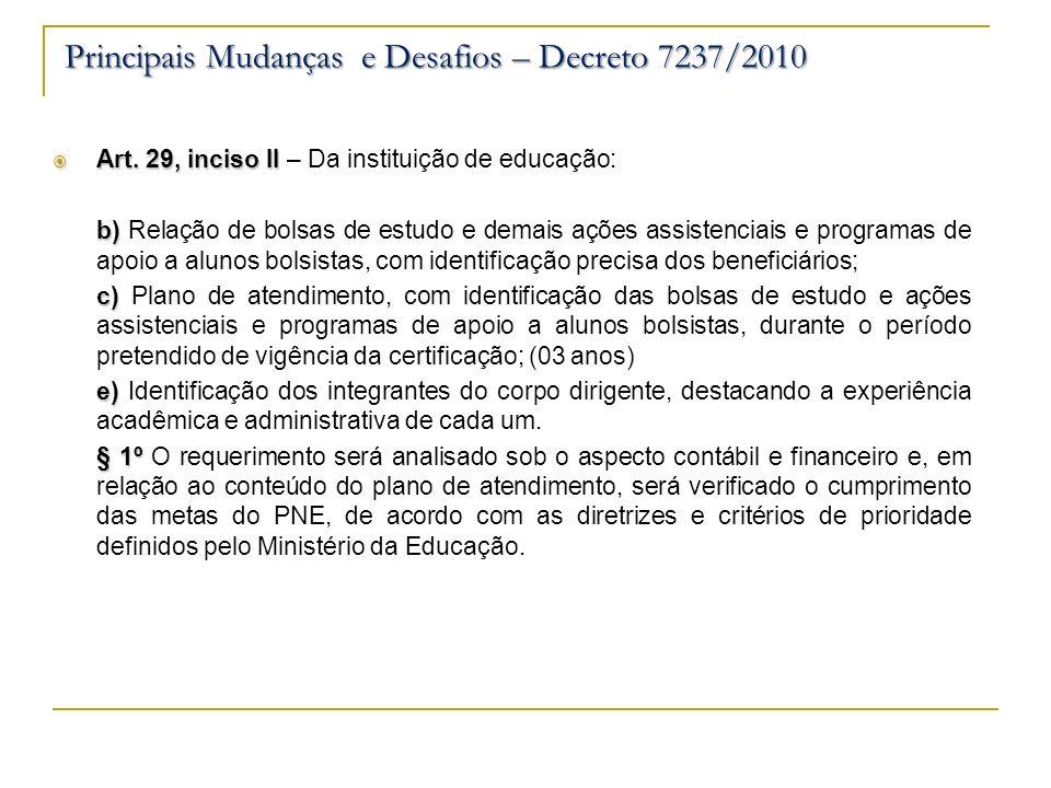 Art. 29, inciso II Art. 29, inciso II – Da instituição de educação: b) b) Relação de bolsas de estudo e demais ações assistenciais e programas de apoi