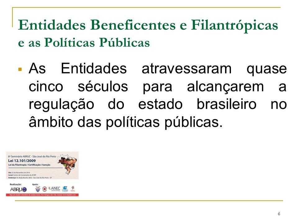 6 Entidades Beneficentes e Filantrópicas e as Políticas Públicas As Entidades atravessaram quase cinco séculos para alcançarem a regulação do estado b