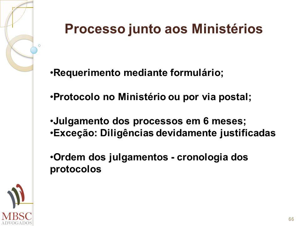 66 Processo junto aos Ministérios Requerimento mediante formulário; Protocolo no Ministério ou por via postal; Julgamento dos processos em 6 meses; Ex