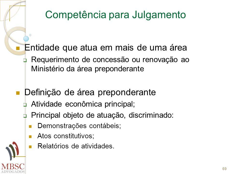 69 Competência para Julgamento Entidade que atua em mais de uma área Requerimento de concessão ou renovação ao Ministério da área preponderante Defini