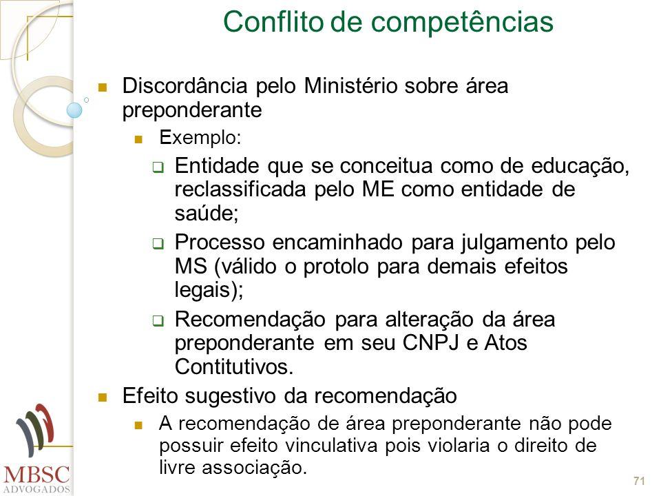 71 Conflito de competências Discordância pelo Ministério sobre área preponderante Exemplo: Entidade que se conceitua como de educação, reclassificada