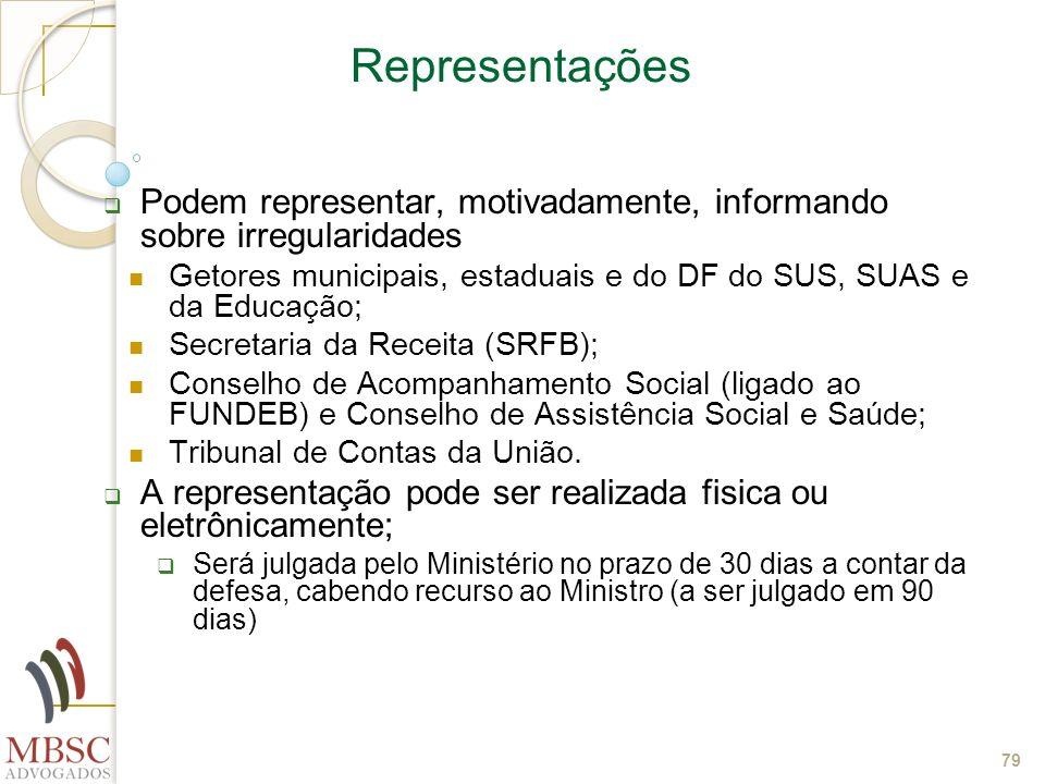 79 Representações Podem representar, motivadamente, informando sobre irregularidades Getores municipais, estaduais e do DF do SUS, SUAS e da Educação;