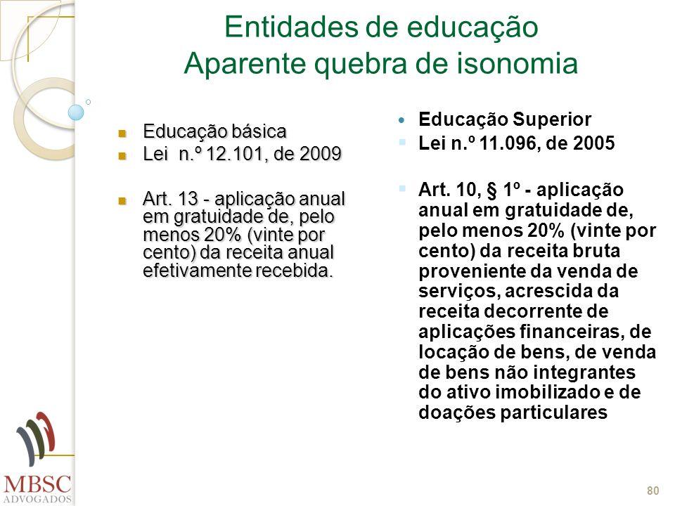 80 Entidades de educação Aparente quebra de isonomia Educação básica Educação básica Lei n.º 12.101, de 2009 Lei n.º 12.101, de 2009 Art. 13 - aplicaç