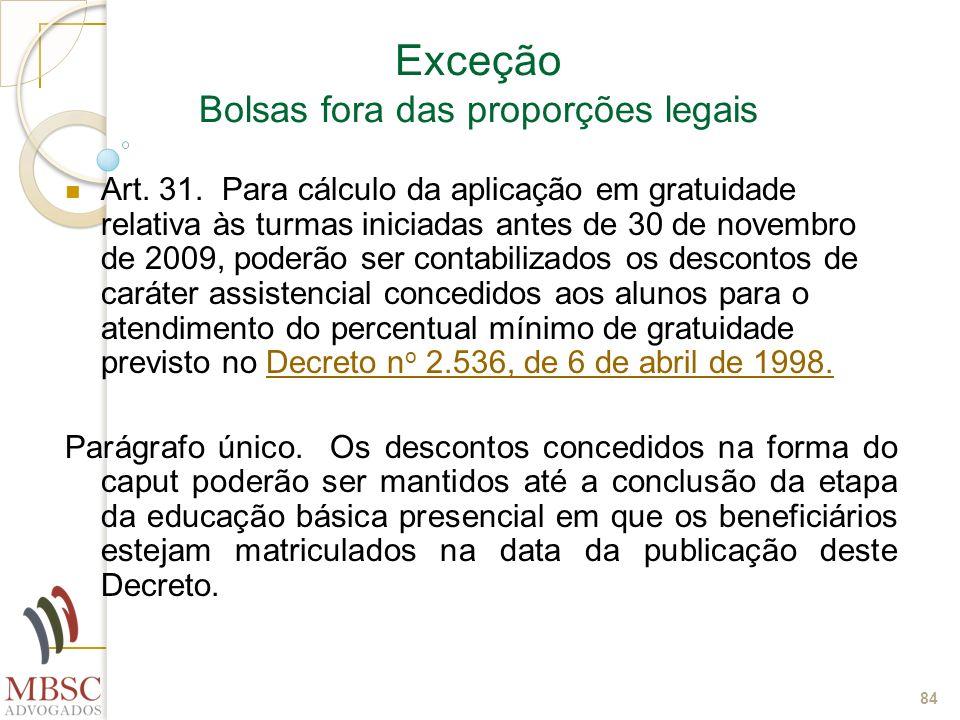 84 Exceção Bolsas fora das proporções legais Art. 31. Para cálculo da aplicação em gratuidade relativa às turmas iniciadas antes de 30 de novembro de