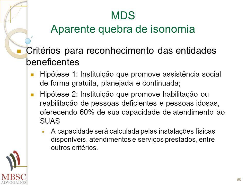 90 MDS Aparente quebra de isonomia Critérios para reconhecimento das entidades beneficentes Hipótese 1: Instituição que promove assistência social de