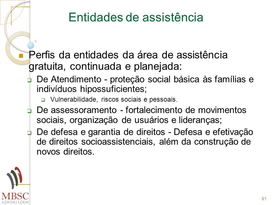 91 Entidades de assistência Perfis da entidades da área de assistência gratuita, continuada e planejada: De Atendimento - proteção social básica às fa
