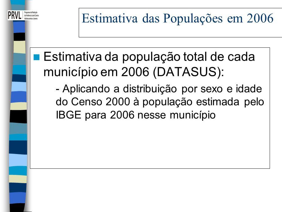 Estimativa das Populações em 2006 Estimativa da população total de cada município em 2006 (DATASUS): - Aplicando a distribuição por sexo e idade do Censo 2000 à população estimada pelo IBGE para 2006 nesse município