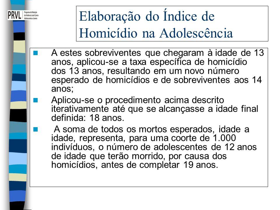Elaboração do Índice de Homicídio na Adolescência A estes sobreviventes que chegaram à idade de 13 anos, aplicou-se a taxa específica de homicídio dos 13 anos, resultando em um novo número esperado de homicídios e de sobreviventes aos 14 anos; Aplicou-se o procedimento acima descrito iterativamente até que se alcançasse a idade final definida: 18 anos.
