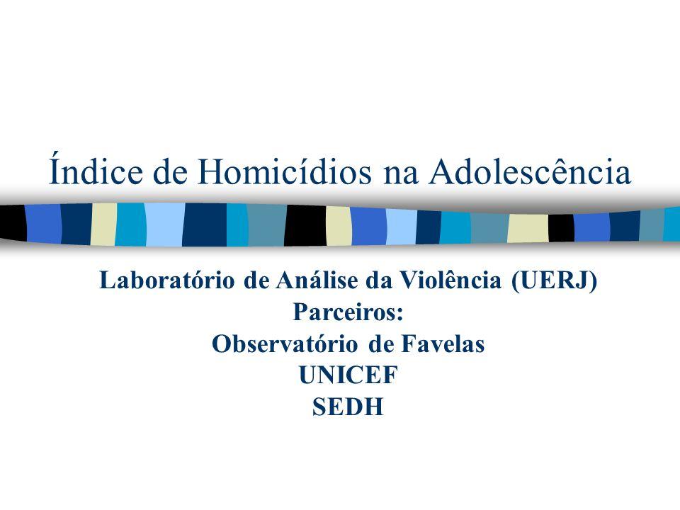 Índice de Homicídios na Adolescência Laboratório de Análise da Violência (UERJ) Parceiros: Observatório de Favelas UNICEF SEDH