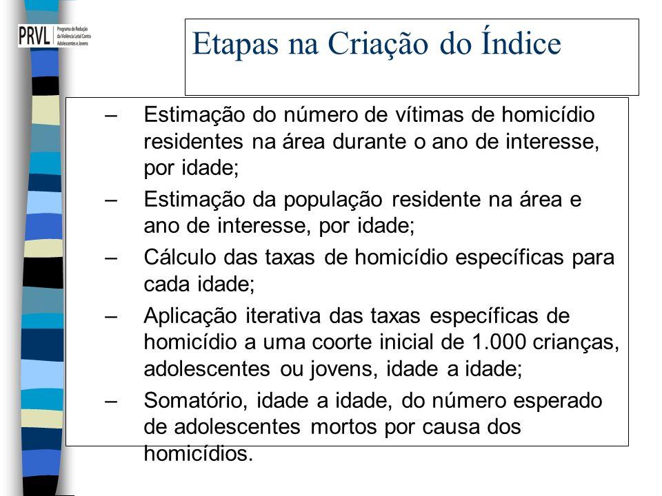 Etapas na Criação do Índice –Estimação do número de vítimas de homicídio residentes na área durante o ano de interesse, por idade; –Estimação da popul