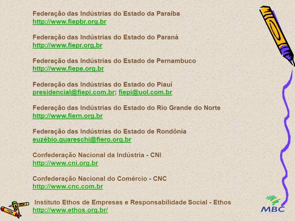 Federação das Indústrias do Estado do Espírito Santo http://www.fiendes.org.br Federação das Indústrias do Estado de Goiás http://www.fieg.org.br Federação das Indústrias do Maranhão fiema@fiema.org.br Federação das Indústrias do Estado do Mato Grosso presidencial@fiemt.com.br Federação das Indústrias do Estado do Mato Grosso do Sul gabinet@fiems.org.br Federação das Indústrias do Estado de Minas Gerais http://www.fiemg.org.br Federação das Indústrias do Estado do Pará http://www.fiepa.org.br Federação das Indústrias do Estado do Rio Grande do Sul http://www.fiergs.org.br http://www.fiendes.org.br http://www.fieg.org.br fiema@fiema.org.br presidencial@fiemt.com.br gabinet@fiems.org.br http://www.fiemg.org.br http://www.fiepa.org.br http://www.fiergs.org.br http://www.fiendes.org.br http://www.fieg.org.br fiema@fiema.org.br presidencial@fiemt.com.br gabinet@fiems.org.br http://www.fiemg.org.br http://www.fiepa.org.br http://www.fiergs.org.br