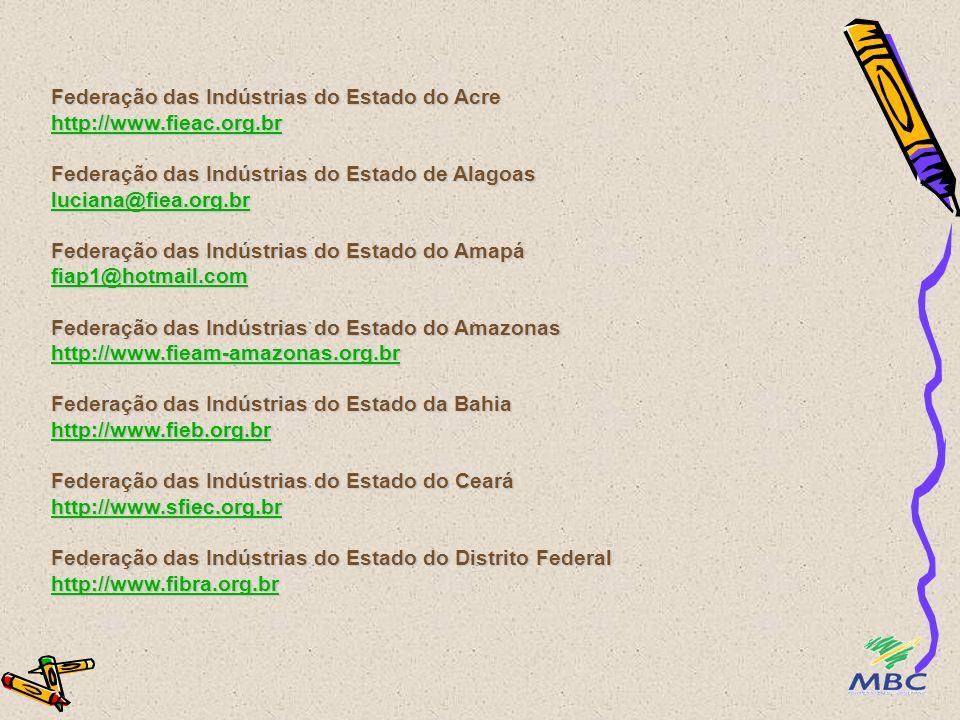 Movimento Brasileiro Competitivo – MBC http://www.mbc.org.br/ Fundação Nacional da Qualidade – FNQ http://www.fnq.org.br/ Fórum Nacional dos Programas de Qualidade Produtividade e Competitividade - FQPC http://www.portalqualidade.com/ Confederação Nacional da Indústria - CNI http://www.cni.org.br Confederação Nacional do Comércio – CNC http://www.cnc.com.br