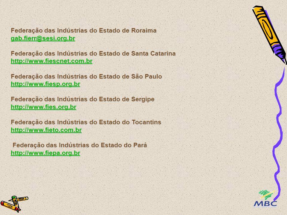 Federação das Indústrias do Estado da Paraíba http://www.fiepbr.org.br Federação das Indústrias do Estado do Paraná http://www.fiepr.org.br Federação das Indústrias do Rio de Janeiro http://www.firjan.org.br Federação das Indústrias do Estado do Rio Grande do Norte http://www.fiern.org.br Federação das Indústrias do Estado do Rio Grande do Sul http://www.fiergs.org.br Federação das Indústrias do Estado de Rondônia euzébio.guareschi@fiero.org.br Federação das Indústrias do Estado do Espírito Santo http://www.fiendes.org.br http://www.fiepbr.org.br http://www.fiepr.org.br http://www.firjan.org.br http://www.fiern.org.br http://www.fiergs.org.br euzébio.guareschi@fiero.org.br http://www.fiendes.org.br http://www.fiepbr.org.br http://www.fiepr.org.br http://www.firjan.org.br http://www.fiern.org.br http://www.fiergs.org.br euzébio.guareschi@fiero.org.br http://www.fiendes.org.br