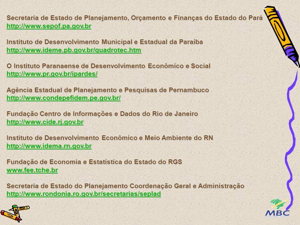 Secretaria do Estado do Planejamento e Desenvolvimento http://www.seplan.go.gov.br/index.html Instituto de Estudos e Análises Socioeconômicas do Estado do Maranhão http://www.geplan.ma.gov.br/ Fundação João Pinheiro http://www.fjp.gov.br/ Instituto Brasileiro de Geografia e Estatística - IBGE http://www.ibge.gov.br/ Instituto de Pesquisa Econômica Aplicada - IPEA http://www.ipea.gov.br/ http://www.ipeadata.gov.br/ Fundação Getúlio Vargas - FGV http://www.fgv.br/ http://fgvdados.fgv.br/ Secretaria do Estado do Planejamento e Desenvolvimento http://www.seplan.go.gov.br/index.html Instituto de Estudos e Análises Socioeconômicas do Estado do Maranhão http://www.geplan.ma.gov.br/ Fundação João Pinheiro http://www.fjp.gov.br/ http://www.seplan.go.gov.br/index.html http://www.geplan.ma.gov.br/ http://www.fjp.gov.br/ http://www.ipea.gov.br/ http://www.fgv.br/ http://fgvdados.fgv.br/ http://www.seplan.go.gov.br/index.html http://www.geplan.ma.gov.br/ http://www.fjp.gov.br/