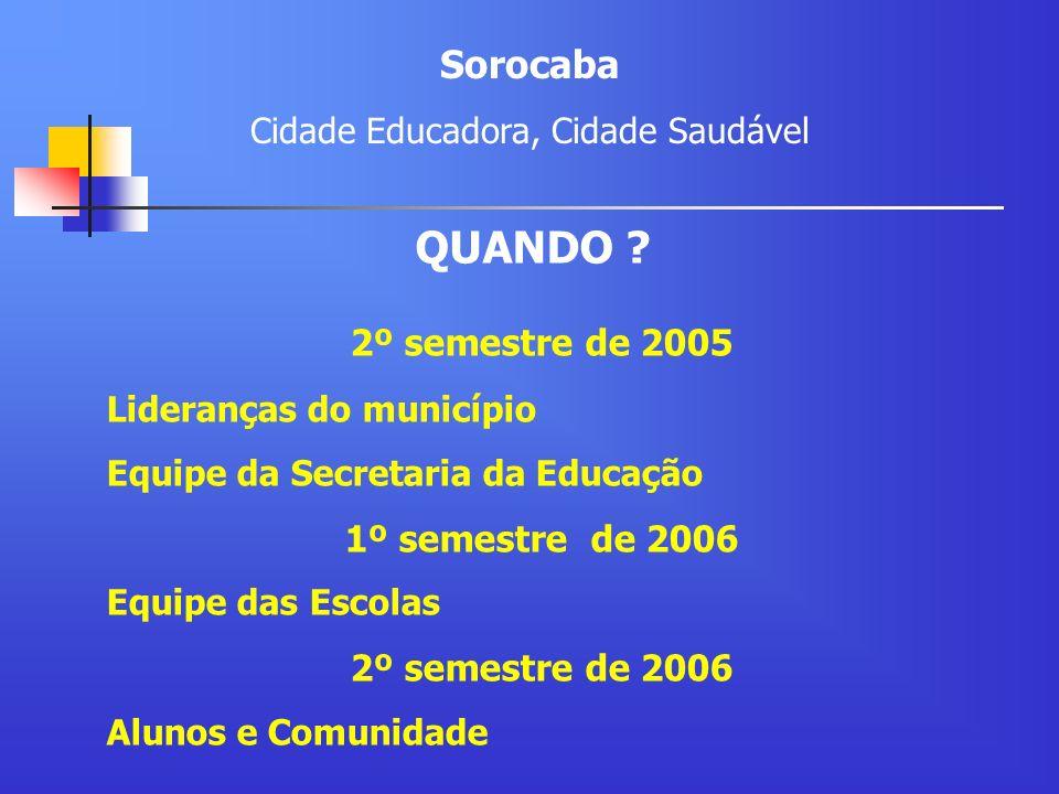 2º semestre de 2005 Lideranças do município Equipe da Secretaria da Educação 1º semestre de 2006 Equipe das Escolas 2º semestre de 2006 Alunos e Comun