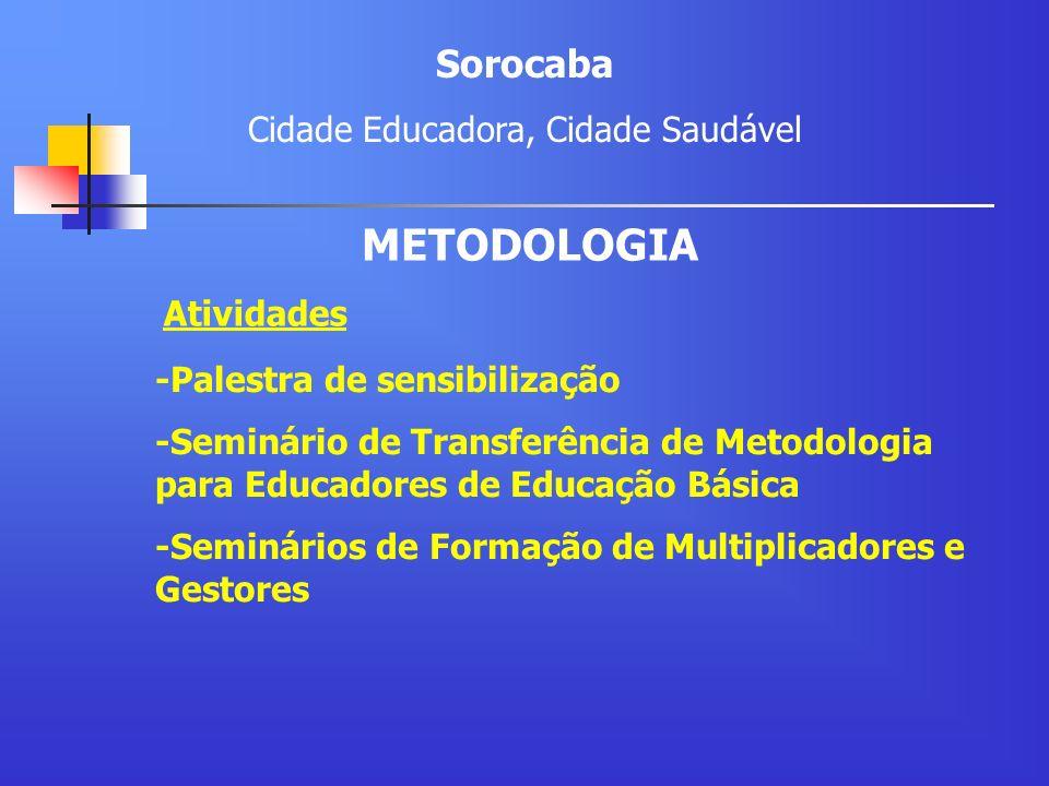 Atividades -Palestra de sensibilização -Seminário de Transferência de Metodologia para Educadores de Educação Básica -Seminários de Formação de Multip