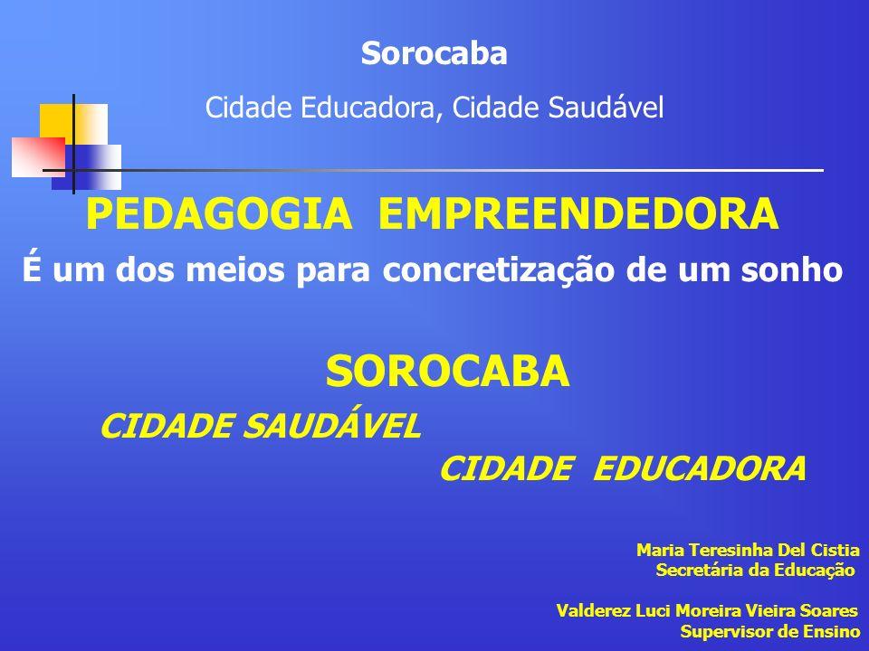 PEDAGOGIA EMPREENDEDORA É um dos meios para concretização de um sonho SOROCABA CIDADE SAUDÁVEL CIDADE EDUCADORA Maria Teresinha Del Cistia Secretária