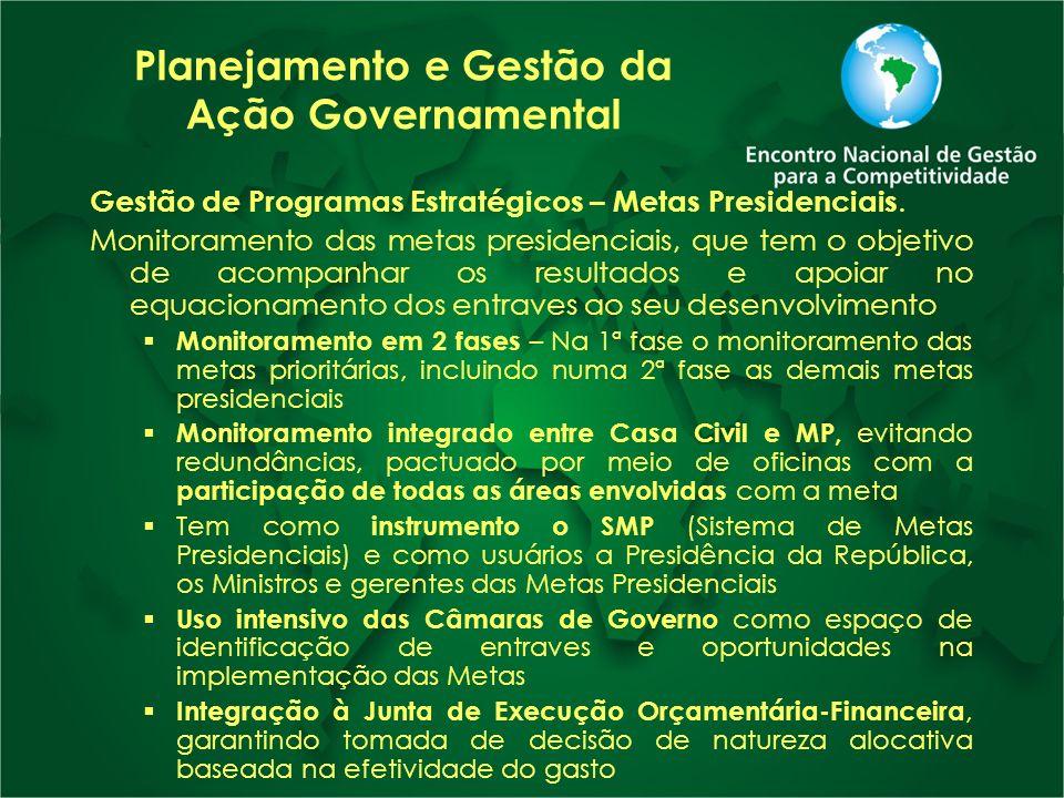 Planejamento e Gestão da Ação Governamental Gestão de Programas Estratégicos – Metas Presidenciais. Monitoramento das metas presidenciais, que tem o o