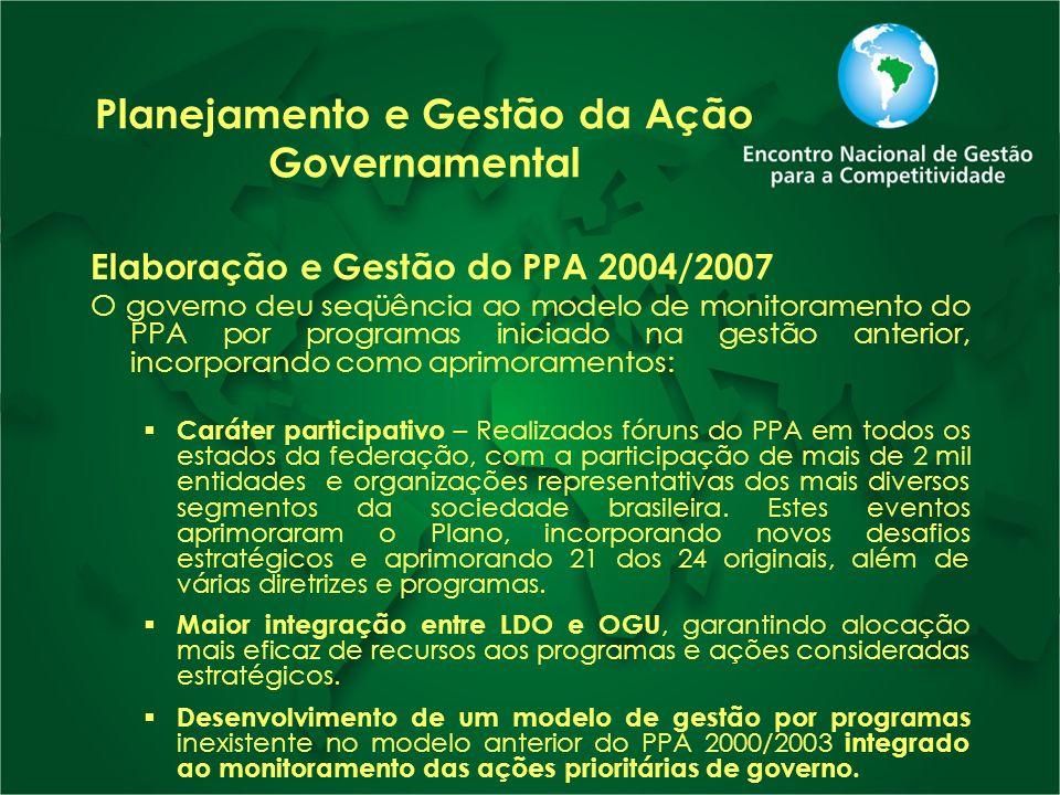 Planejamento e Gestão da Ação Governamental Elaboração e Gestão do PPA 2004/2007 O governo deu seqüência ao modelo de monitoramento do PPA por program