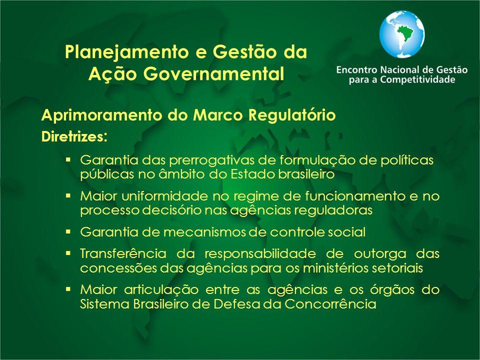 Planejamento e Gestão da Ação Governamental Aprimoramento do Marco Regulatório Diretrizes : Garantia das prerrogativas de formulação de políticas públ