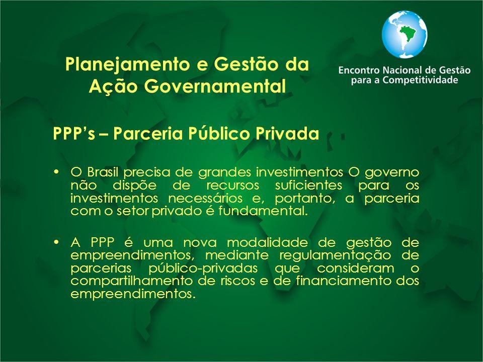 Planejamento e Gestão da Ação Governamental PPPs – Parceria Público Privada O Brasil precisa de grandes investimentos O governo não dispõe de recursos