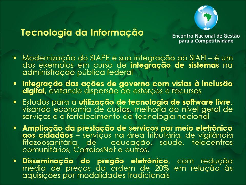 Tecnologia da Informação Modernização do SIAPE e sua integração ao SIAFI – é um dos exemplos em curso de integração de sistemas na administração públi