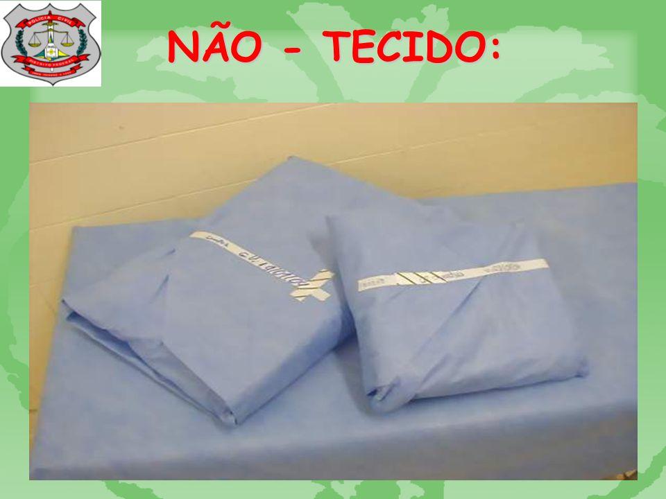 TECIDO DE ALGODÃO: TECIDO DE ALGODÃO NBR 14028: sarja T1 ou T2 Vulnerabilidade à contaminação; Difícil controle da forma e do n o dos reprocessamentos; (65 vezes segundo RODRIGUES, 2000); Tempo de estocagem pequeno – 07 dias.