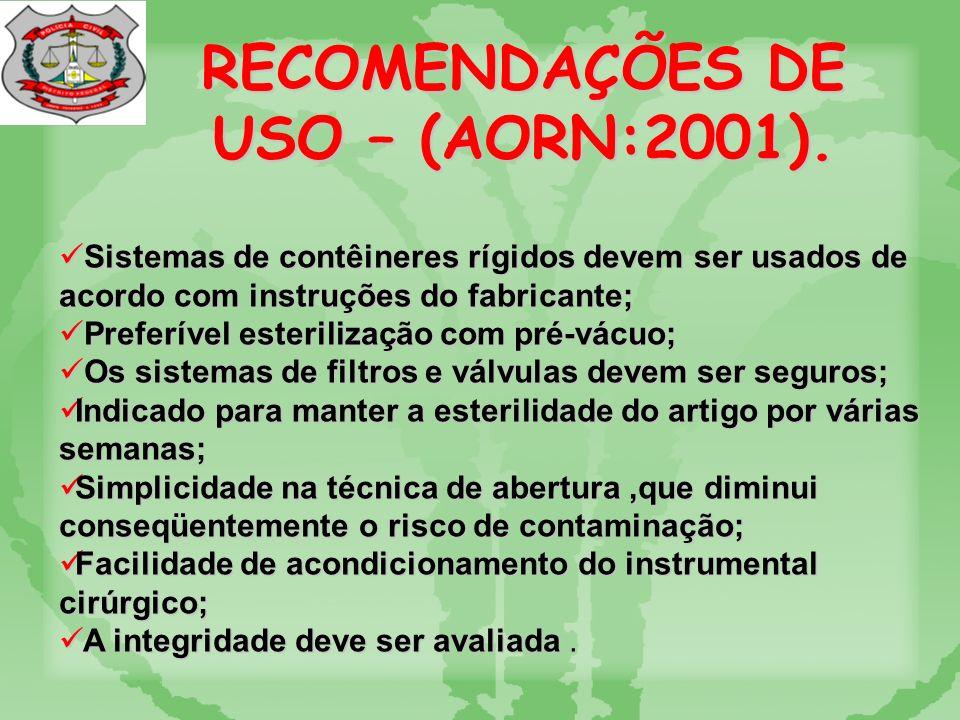 RECOMENDAÇÕES DE USO – (AORN:1991).