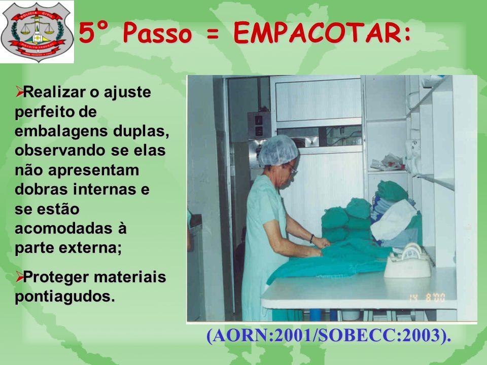 5° Passo = EMPACOTAR: (AORN:2001/SOBECC:2003). Avaliar necessidade e embalagem dupla.