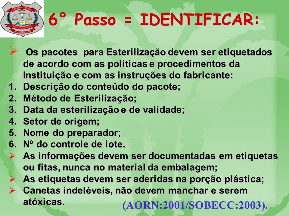 5° Passo = EMPACOTAR: (AORN:2001/SOBECC:2003).