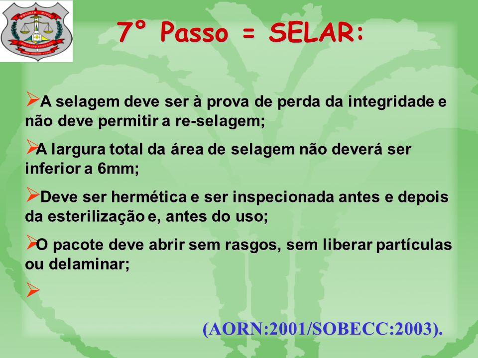 7° Passo = SELAR: (AORN:2001/SOBECC:2003).