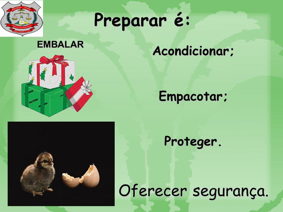 Preparar é: EMBALAR Acondicionar;Empacotar;Proteger. Oferecer segurança.