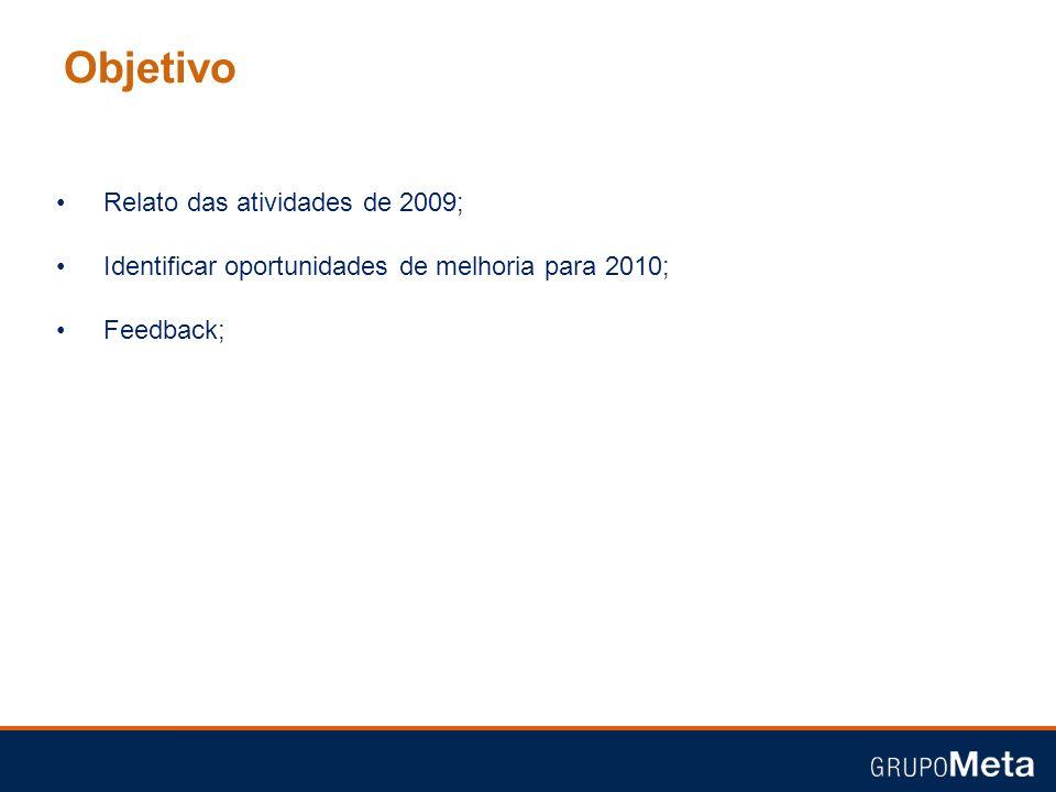 Objetivo Relato das atividades de 2009; Identificar oportunidades de melhoria para 2010; Feedback;