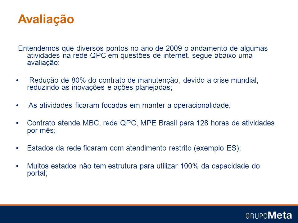 Avaliação Entendemos que diversos pontos no ano de 2009 o andamento de algumas atividades na rede QPC em questões de internet, segue abaixo uma avalia