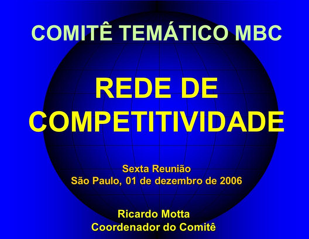 COMITÊ TEMÁTICO MBC REDE DE COMPETITIVIDADE Ricardo Motta Coordenador do Comitê Sexta Reunião São Paulo, 01 de dezembro de 2006
