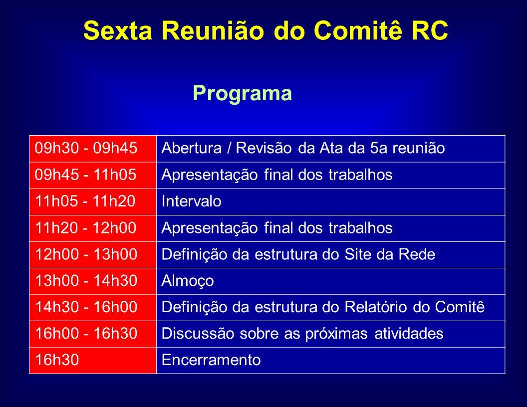 Programa Sexta Reunião do Comitê RC 09h30 - 09h45Abertura / Revisão da Ata da 5a reunião 09h45 - 11h05Apresentação final dos trabalhos 11h05 - 11h20Intervalo 11h20 - 12h00Apresentação final dos trabalhos 12h00 - 13h00Definição da estrutura do Site da Rede 13h00 - 14h30Almoço 14h30 - 16h00Definição da estrutura do Relatório do Comitê 16h00 - 16h30Discussão sobre as próximas atividades 16h30Encerramento