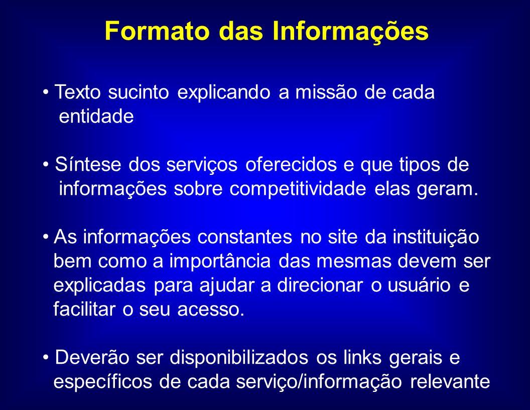 Formato das Informações Texto sucinto explicando a missão de cada entidade Síntese dos serviços oferecidos e que tipos de informações sobre competitiv
