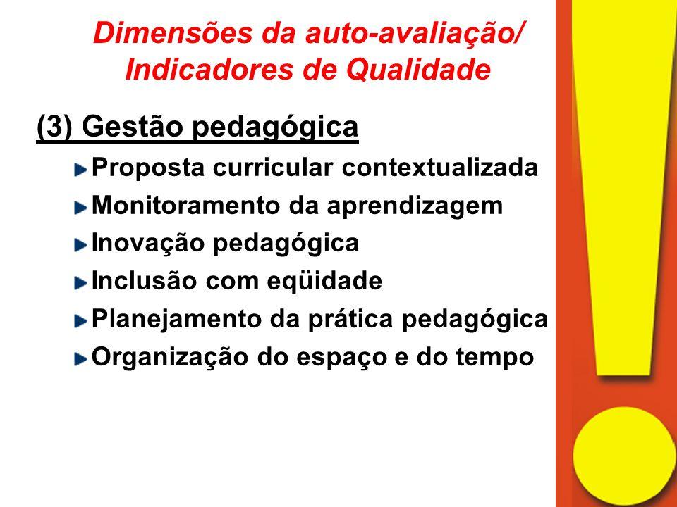 (3) Gestão pedagógica Proposta curricular contextualizada Monitoramento da aprendizagem Inovação pedagógica Inclusão com eqüidade Planejamento da prática pedagógica Organização do espaço e do tempo Dimensões da auto-avaliação/ Indicadores de Qualidade
