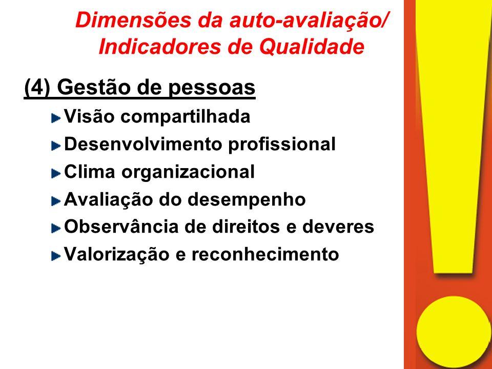 (4) Gestão de pessoas Visão compartilhada Desenvolvimento profissional Clima organizacional Avaliação do desempenho Observância de direitos e deveres Valorização e reconhecimento Dimensões da auto-avaliação/ Indicadores de Qualidade