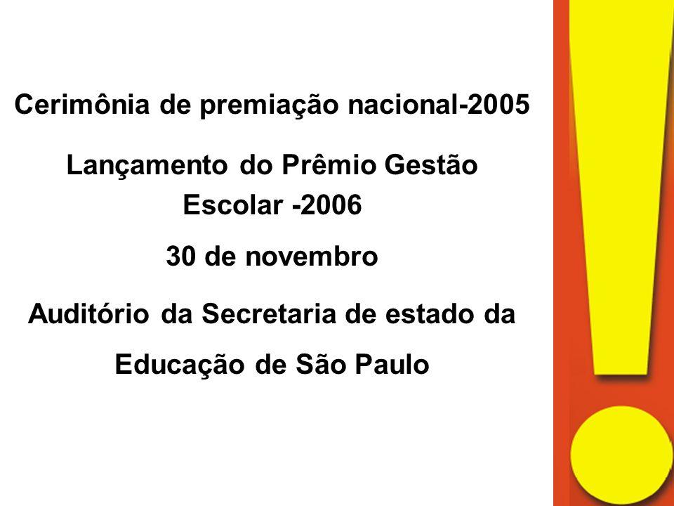 Cerimônia de premiação nacional-2005 Lançamento do Prêmio Gestão Escolar -2006 30 de novembro Auditório da Secretaria de estado da Educação de São Paulo