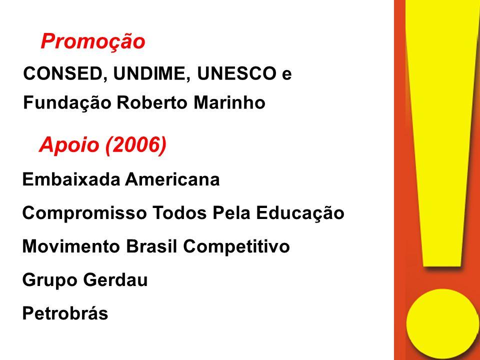 Promoção CONSED, UNDIME, UNESCO e Fundação Roberto Marinho Apoio (2006) Embaixada Americana Compromisso Todos Pela Educação Movimento Brasil Competitivo Grupo Gerdau Petrobrás