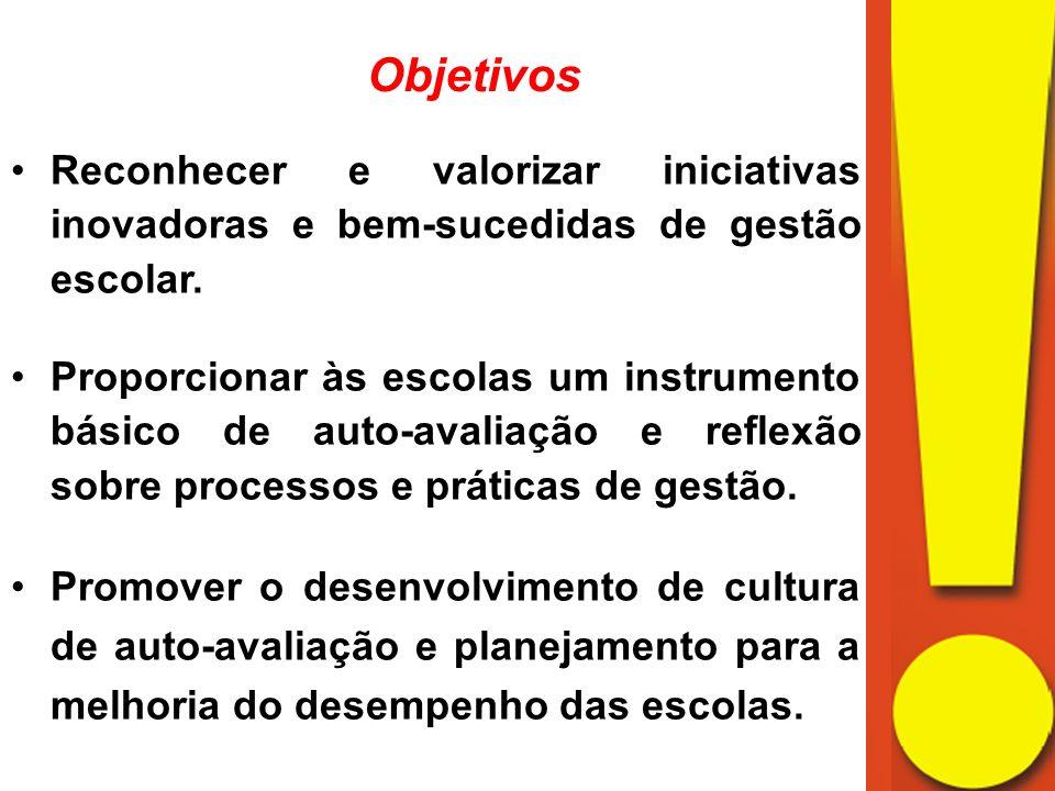 Objetivos Reconhecer e valorizar iniciativas inovadoras e bem-sucedidas de gestão escolar.