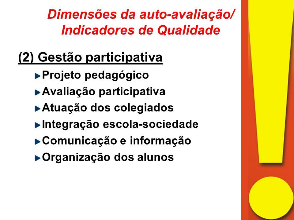 (2) Gestão participativa Projeto pedagógico Avaliação participativa Atuação dos colegiados Integração escola-sociedade Comunicação e informação Organização dos alunos Dimensões da auto-avaliação/ Indicadores de Qualidade