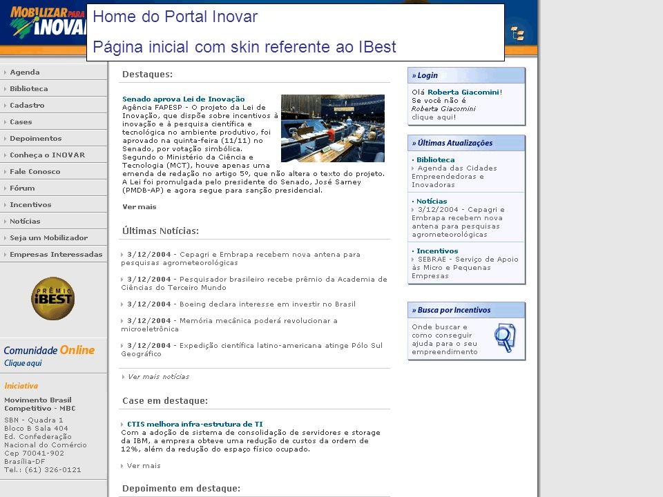 Home do Portal Inovar Página inicial com skin referente ao IBest
