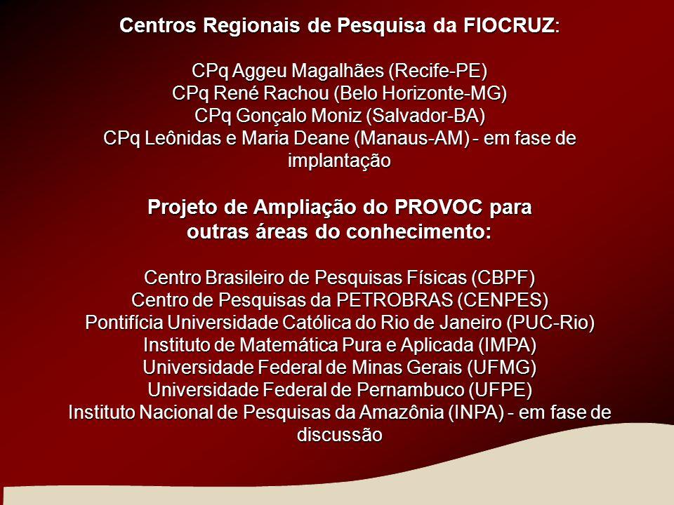 Centros Regionaisde PesquisaFIOCRUZ: Centros Regionais de Pesquisa da FIOCRUZ: CPq Aggeu Magalhães (Recife-PE) CPq René Rachou (Belo Horizonte-MG) CPq