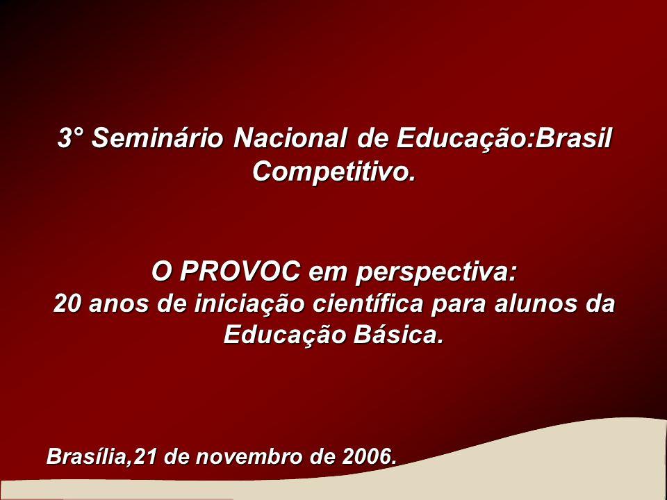 3° Seminário Nacional de Educação:Brasil Competitivo. O PROVOC em perspectiva: 20 anos de iniciação científica para alunos da Educação Básica. Brasíli