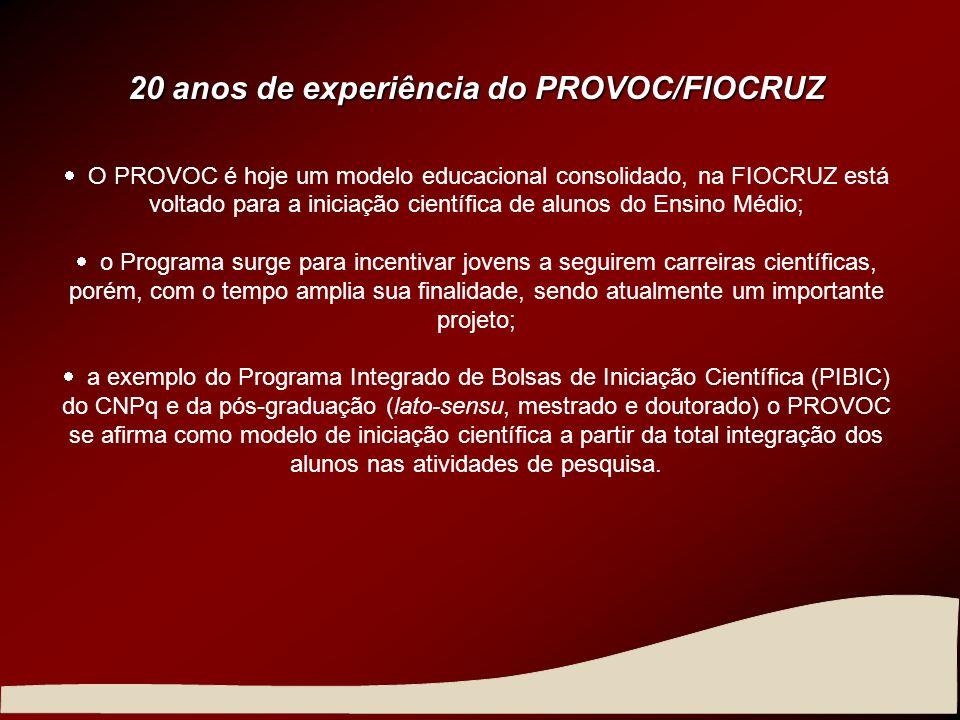 20 anos de experiência do PROVOC/FIOCRUZ O PROVOC é hoje um modelo educacional consolidado, na FIOCRUZ está voltado para a iniciação científica de alu