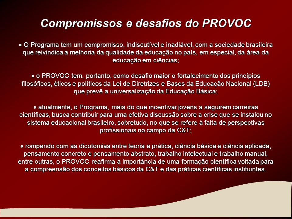 Compromissos e desafios do PROVOC O Programacompromisso, indiscutível e inadiável, com a sociedade brasileira que reivindica a melhoria da qualidade d